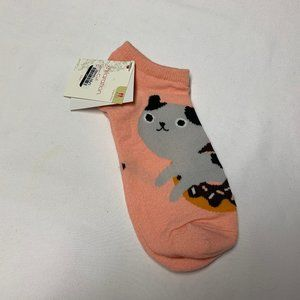 Xhilaration One Pair Cat in a Doughnut Ankle Socks